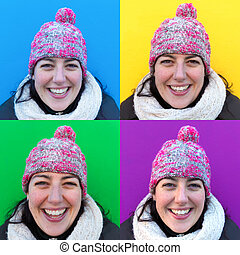 Four images of a smiling woman wearing a hat - Four images...