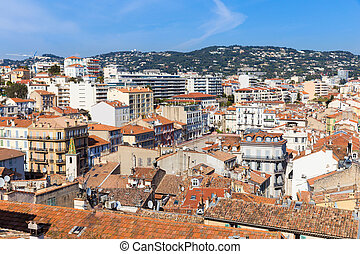 View of the orange rooftops of Cannes in France