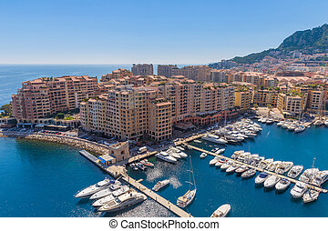 View of the apartment blocks and the harbour in Monte Carlo