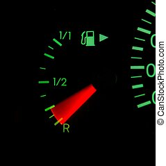 Fuel indicator of a car with motion blur