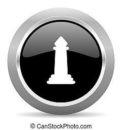 chess black metallic chrome web circle glossy icon