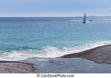 Sail boat sailing on the Mediterranean Sea  at Nice