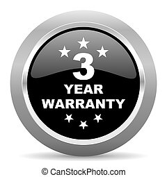warranty guarantee 3 year black metallic chrome web circle...