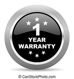 warranty guarantee 1 year black metallic chrome web circle...
