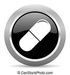 drugs black metallic chrome web circle glossy icon