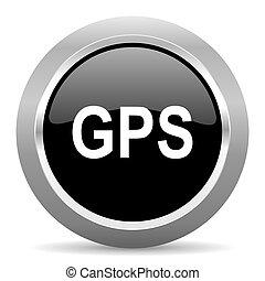 GPS, negro, metálico, cromo, tela, círculo,...