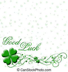 good luck vector with four leaf clovers and fancy text