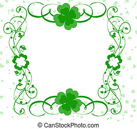 good luck border with four leafed clovers and fancy swirls...