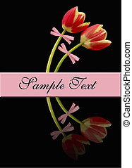 spring tulips vector - two tulips and space for text with...