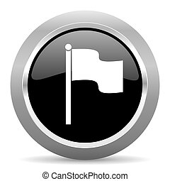 flag black metallic chrome web circle glossy icon
