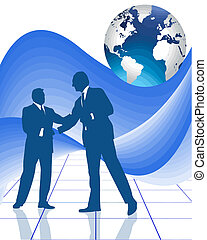 business vector - hand shake on a successful business deal...