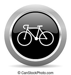 bicycle black metallic chrome web circle glossy icon