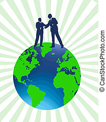 business deal vector - two businessmen shaking hands on a...