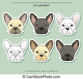 Set goals sketch french bulldog different color Cute dog for...