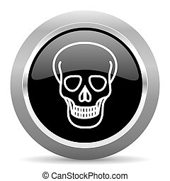 skull black metallic chrome web circle glossy icon