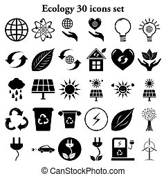Ecology 30 simple icons set