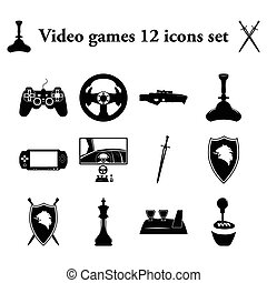 Video games simple icons set