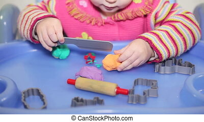 little girl play with plasticine, Full HD