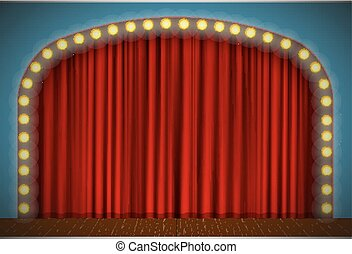 Stage with red curtain