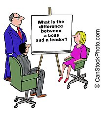 Boss Versus Leader - Business cartoon about the differences...