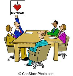 I Love My Team - Business cartoon about the relationships...
