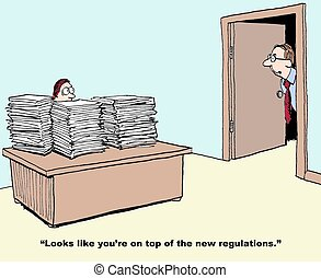 Many Regulations - Business cartoon about the many...