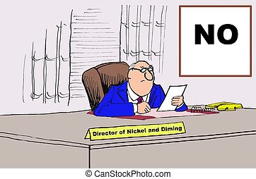 Automatic No - Business cartoon about a boss that always...