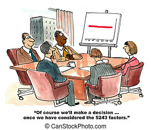 Consider All Factors - Business cartoon about the large...