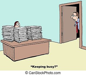Busy? - Business cartoon about extremely busy clerk.