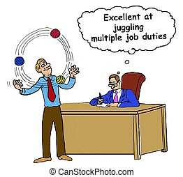 Excellent Juggling Duties - Business cartoon about a manager...