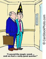 Good Quarter - Business cartoon about a good financial...