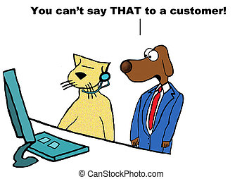 Insulting Customer Service - Business cartoon about manager...