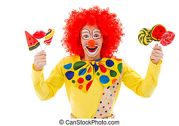 Funny playful clown - Portrait of a funny playful clown in...