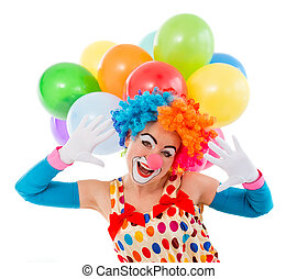 Funny playful clown - Portrait of a funny playful female...