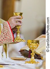 During the communion - In the mass, during the communion