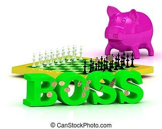BOSS bright word, money, pink piggy, yellow chess