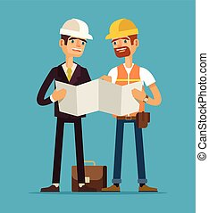 Foreman and worker Vector flat illustration