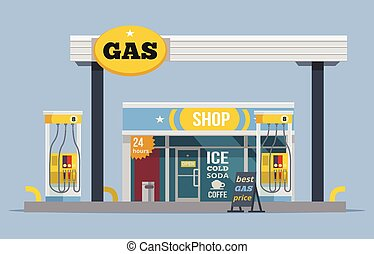 Gas station Vector flat illustration