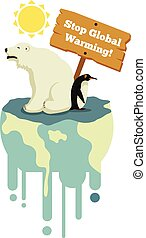 Stop global warming Vector flat illustration