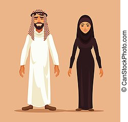 Traditional arab couple Vector flat illustration