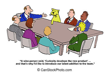 Curiosity and New Products - Business cartoon that a cat is...