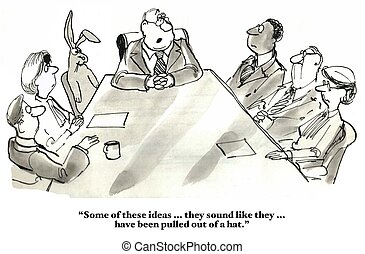 Ideas Out Of Hat - Business cartoon about new ideas that...