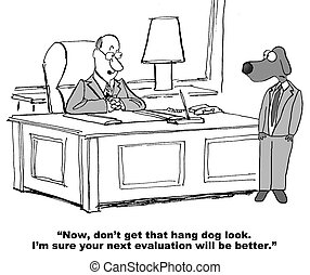 Poor Evaluation - Business cartoon about a poor evaluation