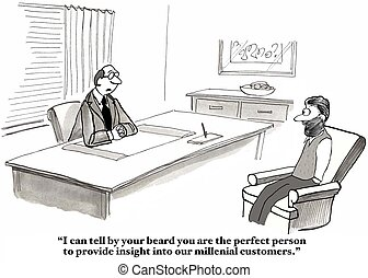 Millennial Knowledge - Business cartoon about a manager who...
