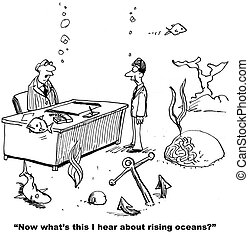Rising Ocean Level - Cartoon about climate change and the...