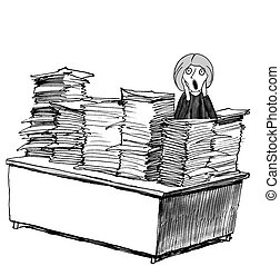 Paperwork Scream - Business cartoon about woman screaming at...