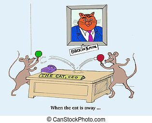 Cat is Away - Business cartoon about workers playing when...