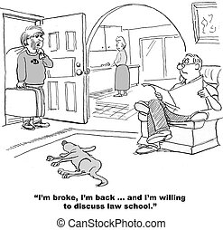 Law School for Son - Cartoon about an adult son who is...