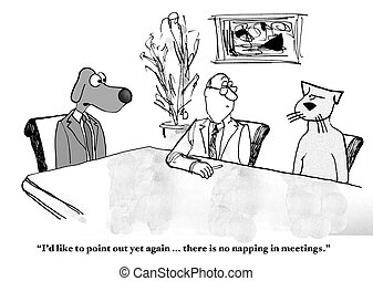 Napping in Meeting - Business cartoon about a cat manager...