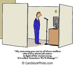 Company Reorganization - Business cartoon about company...